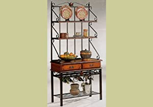 Dirty Oak Finish Bakers Bakers Wine Rack Stand