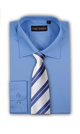 Chemise pour hommes Fabio Farini uni avec cravate bleu blanc manches longues avec col Kent, Hemd Kragen-Größe:39-40;Farbe:Blau