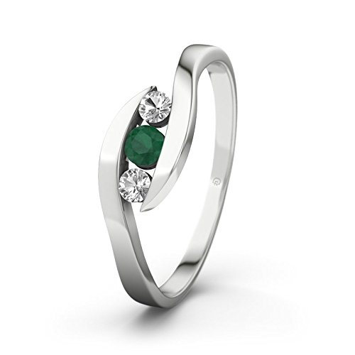 21DIAMONDS Women's Ring 14 Carat (585) White Gold Alberta Engagement Ring Emerald Cut Engagement Ring