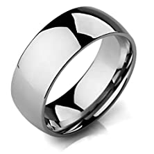 buy Moandy Jewelry Mens Wide 8Mm Stainless Steel Band Rings Silver Polished Wedding Elegant Size 6