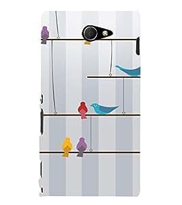 PrintVisa Colorful Birds Design 3D Hard Polycarbonate Designer Back Case Cover for Sony Xperia M2 Dual
