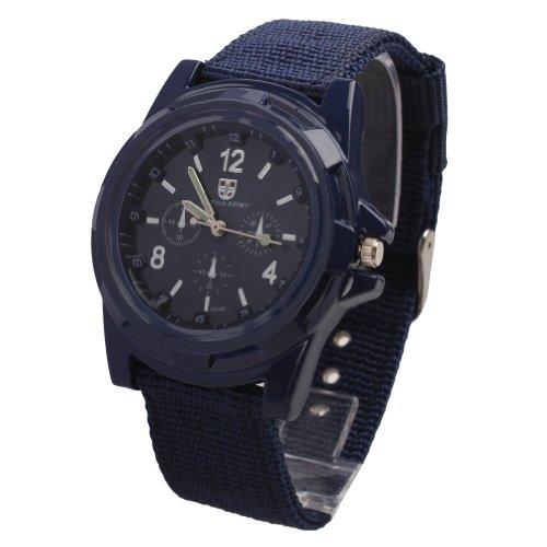 Fancasen Navy Blue Mens Military Army Sport Style Luminous Quartz Wrist Watch