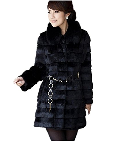 xiaoming Fur Rabbit Faux Thick Jacket Warm Womens Winter