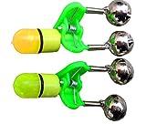 10pcs Fishing Rod Tip Red LED Light Twin Bells Bite Alert Alarm