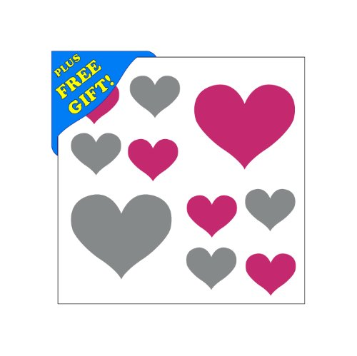 Set of 50 - Hot Pink / Metallic Silver Heart Vinyl Wall Decals Stickers [Peel and Stick Graphic Mural Hearts Kit Appliques] + with Free Sticky Notepad