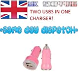 DUAL 2 IN 1 USB PINK CAR CHARGER FOR BLACKBERRY BOLD 9700 9780 9900