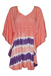 Indiatrendzs Women's Rayon Tie Dye Print Peach Kaftan Style Top Chest : 54