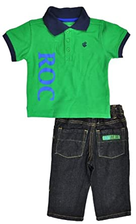 Rocawear Infant Boys Fern Green Polo 2Pc Pant Set (12M)