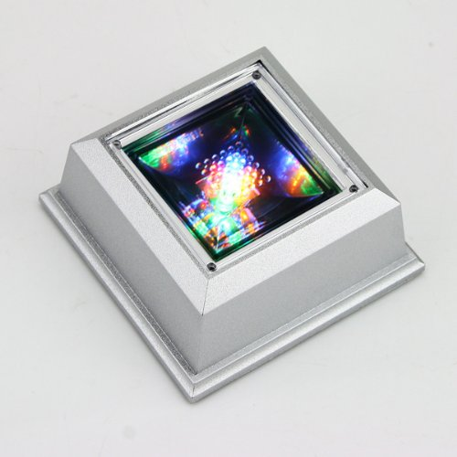 Mini Colourful Unique Square Crystal Display Base Portable Stand 4 Led Light Bulbs New