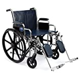 Medline Excel Extra-Wide Wheelchairs, ELR, 24 Inch