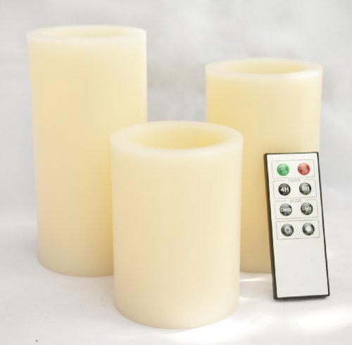 Candle Choice Set Of 3 3.1'' Paraffin Wax Even Edge Round Pillar Flameless Amber-Color Led Candle With Remote And Timer