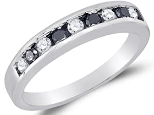 Size 7 - 10K White Gold Channel Set Round Brilliant Cut Black and White Diamond Ladies Womens Wedding Band OR Anniversary Ring (1/4 cttw.)