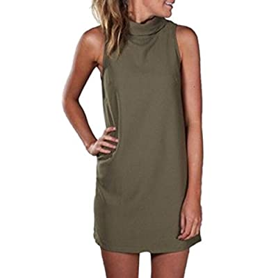 Susenstone Womens Polo Turtle Neck Sleeveless Plain Summer Mini Dress