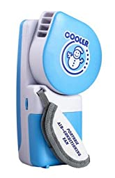 1 X Mini Handheld Air Conditioner Cooling Fan, Powered By Batteries or USB - For Sports, Hiking, Camping, Airplanes, Etc. -By Shiningtek (Blue)