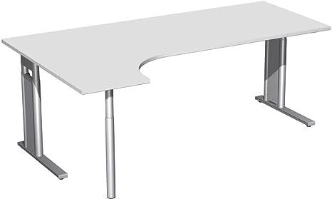 PC scrivania sinistra, altezza e C piede per luce opzionale, 2000x 1200x 680-820, Grigio/Argento, Gera mobili
