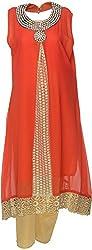 Urban Kings Women's Crepe Net Salwar Suit (ORANGE-013_M, Orange, M)