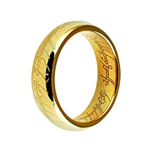 buy Three Keys Jewelry Lord Of The Rings Style Tungsten Carbide Gold Ring Lord Laser Etched Band Ring Size 11.5