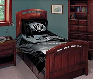 NFL Football Oakland Raiders Logo 5 Piece Comforter, Pillowcase, Fitted & Flat Sheet Bed-in-a-bag Set Queen Size