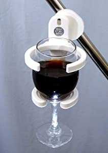 """Wine glass holder is also a coffee cup holder, water bottle holder and beverage holder. The universal Drink Holder fits all size rails/tubes (5/8""""- 1¼"""") and can be attached to lounge chairs, folding (bag) chairs, wheelchairs, walkers."""