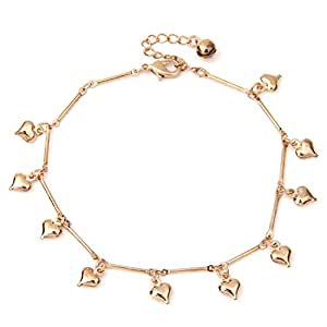FACILLA® Hearts Bell Anklet Chain Ankle Bracelet Link Rose Gold HOT [Jewellery]