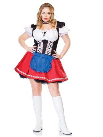 Size German Beer Girl Costume Oktoberfest Apron Dress Peasant Dress