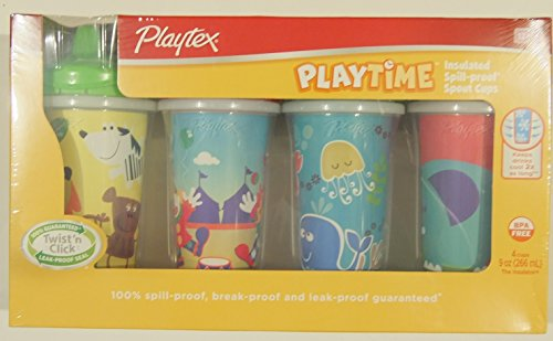 Playtex Playtime Insulated Spill-proof Spout Cups, BPA Free, 12M+ (Pack of 4) - 1