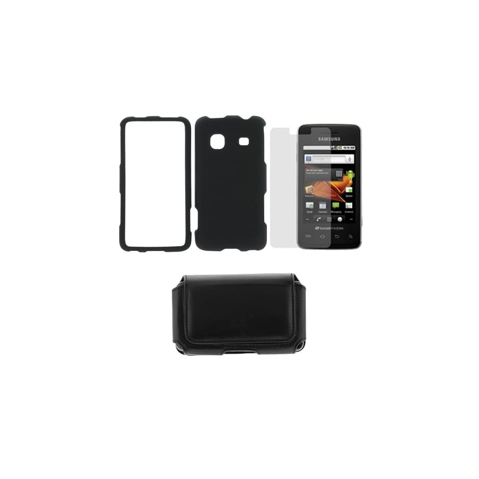 GTMax Black Hard Rubberized Protective Cover Case + Clear LCD Screen Protector + Black Unversal Horizontal Pouch Case with Belt Clip for Samsung Galaxy Prevail M820