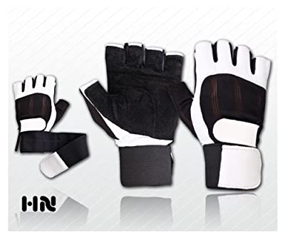 Leather Weight Lifting Gloves (072) Long Wrist Wrap Gloves Power Lifting Lifter PADDED Palm Exercise Fitness Gloves Strengthen Gloves Home Gym from Kango Fitness