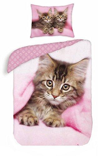 Gatto Gattino rosa lenzuolo COPRIPIUMINO singolo + Federa,100% COTONE ORIGINALE keith kimberlin biancheria da letto bambina