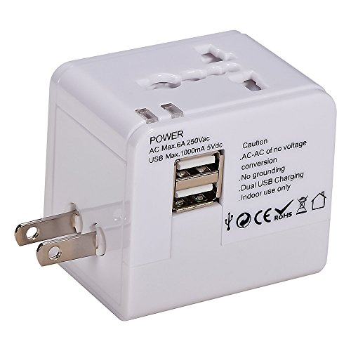 Mudder® Us Uk Eu Au Universal All In One International Travel Power Plug Adapter Charger With 2 Port 1A Usb For Cell Phone (White)