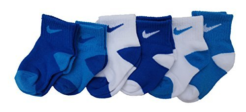 Nike Toddler Baby Boy Socks White/Blue 6 Pairs, Size 6-12 Months by Nike