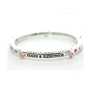 Breast Cancer Awareness Pink Ribbon Stackable Bangle Bracelet from CharmingChick