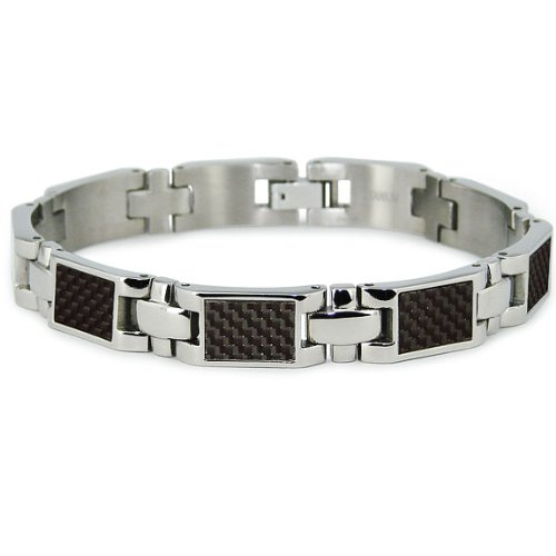 Titanium Men's Link Bracelet with Black Carbon Fiber Accents (10mm Wide) 7.75 Inches