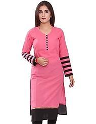 SLF Women's Pink And Black Cotton Kurta