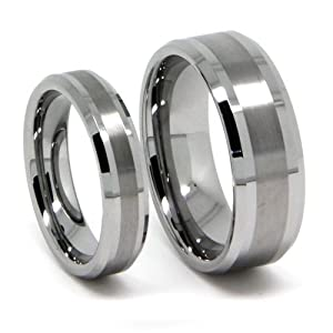 Matching Wedding Band Set His Her Tungsten Rings Titanium