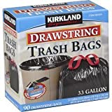 Kirkland Signature Drawstring Trash Bags - 33 Gallon - Xl Size - 90 Count