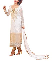 Sara Fashion Women's Georgette Unstitched Dress Material (White)
