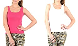 Lady Heart Women's Pink & White Cotton Regular Strap Tank Top Camisole Free Size - S / M / L . Pack Combo of 2