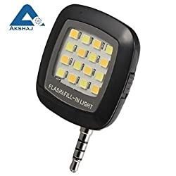 AKSHAJ Portable 16 LED Selfie Enhancing Dimmable Rechargeable Flash Fill-in Light Torch for All Smartphone, Tablet, iPhone - Black