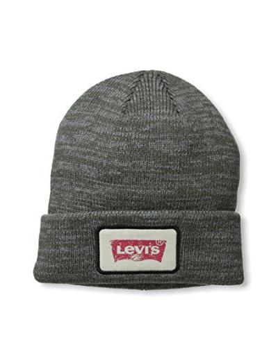 Levi's Men's Ragg Knit Cuffed Beanie with Logo, Light Heather Grey