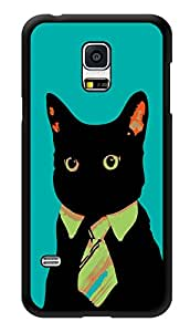 "Humor Gang Hipster Cat - Green Printed Designer Mobile Back Cover For ""Samsung Galaxy S5"" (3D, Glossy, Premium Quality Snap On Case)"