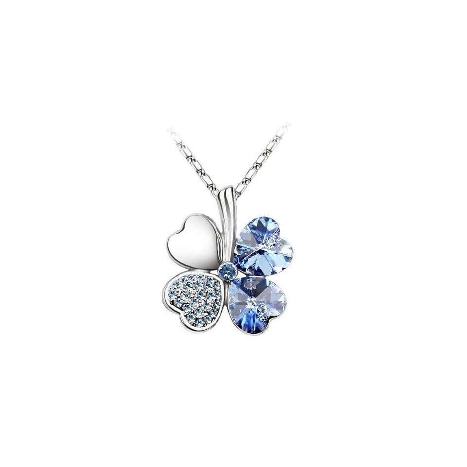 Swarovski Elements 18k White Gold Plated Crystal Four Leaf Clover Cubic Zirconia Pendant Necklace  Aquamarine Blue