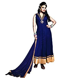 Blue Net Embroidered Salwar Suit With Dupatta Material