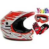 Youth Red Flame Dirt Bike Atv Motocross Off-road Helmet Mx+goggles+gloves (Medium)