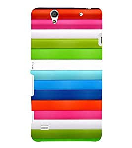 PrintVisa Stripes Pattern 3D Hard Polycarbonate Designer Back Case Cover for Sony Xperia C4 Dual