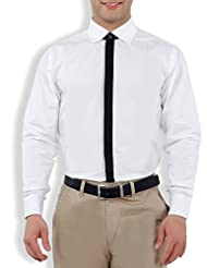 Nick&Jess Mens White-Black Contrasting Slim Fit Dress Shirt