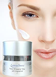 Sublime Beauty FACE WHISPERER DAY CREAM with Argireline, 1.7 oz. Relax and Reduce Wrinkles + Moisturize + Boost Collagen with Peptides for Gorgeous Skin. Sublime Beauty is the ONLY authorized Seller. Unlimited 100% Customer Satisfaction Guarantee.