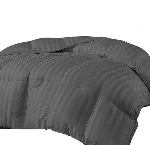 Marrikas Reversible Microfiber Down Alternative King Comforter Charcoal Stripe front-894778