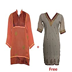 Geroo Rust Georgette Top With Off White Cotton kurti combo