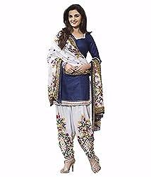 Vimlon's White & Blue Cotton Dress Material For Women